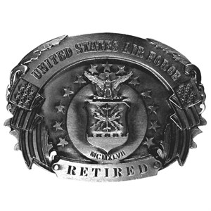 Air Force Retired Antiqued Belt Buckle