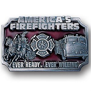 Alternate American Fire Fighters Enameled Belt Buckle