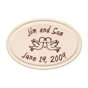 Personalized Anniversary Heart and Birds Ceramic Wall Plaque