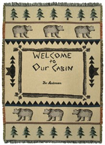 "Personalized ""Welcome to Our Cabin"" Throw"