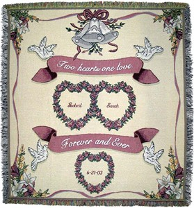 Two Hearts One Love Tapestry Throw