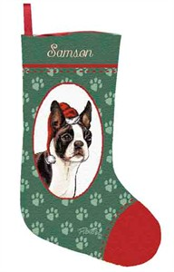 Personalized Dog Christmas Stocking - Boston Terrier