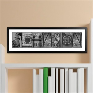 Architectural Family Name Print - Black and White
