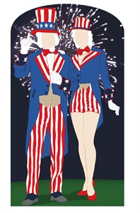 Aunt and Uncle Sam Cardboard Cutout