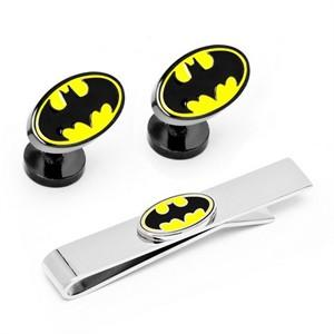 Batman Logo Cufflinks Tie Bar Gift Set