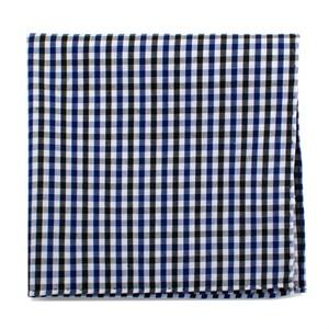 Black and Blue Gingham Cotton Pocket Square