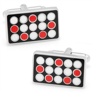 Black and Red Polka Dot Rectangle Cufflinks