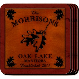 Cabin Series Personalized Coasters - White Oak