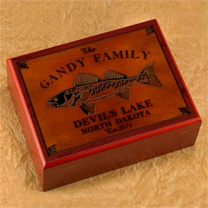Cabin Series Personalized Humidor - Walleye