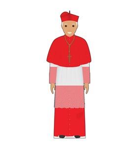 Cartoon Pope in Red Cardboard Cutout