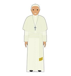 Cartoon Pope in White Cardboard Cutout