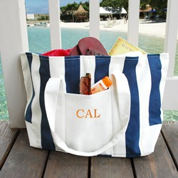 Personalized Striped Canvas Tote Bag