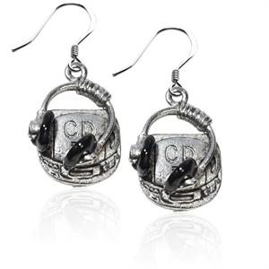 CD Player & Headphone Charm Earrings in Silver