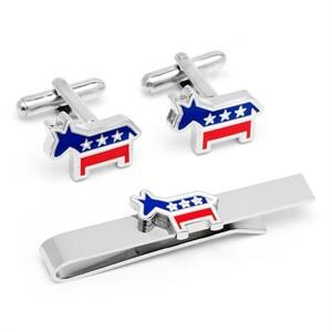 Democratic Donkey Cufflinks and Tie Bar Gift Set