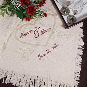 Embroidered Wedding Heart Afghan