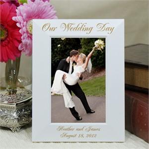 Engraved White Wood Wedding Frame