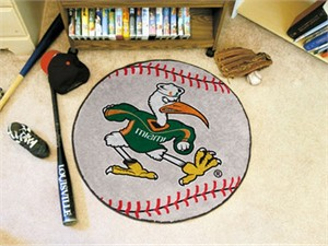 University of Miami Baseball Rug - Sebastian Logo