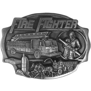 Fire Fighter Antiqued Belt Buckle