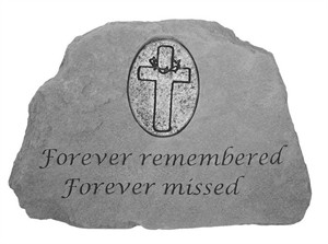 Forever remembered...with Oval Cross Memorial Stone