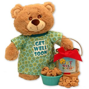 Get Well Soon Teddy Bear & Cookie Pail