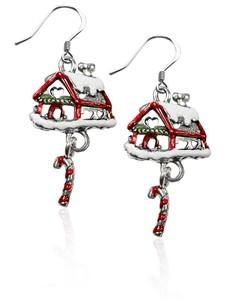Gingerbread House Charm Earrings in Silver