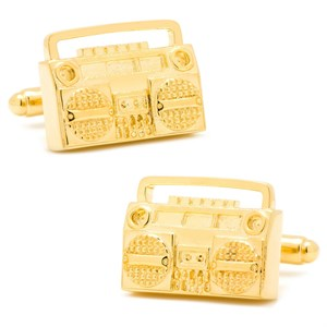 Gold Retro Boombox Cufflinks
