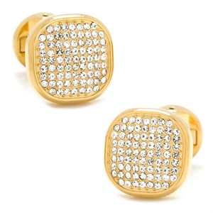 Gold Stainless Steel White Pave Crystal Cufflinks
