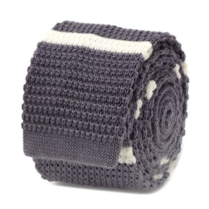 Gray with White Stripe Wool Knit Tie