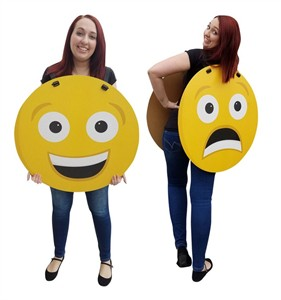 Happy/Sad Emoji Costume Cardboard Cutout