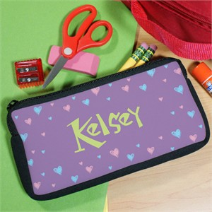 Hearts Personalized Pencil Pouch