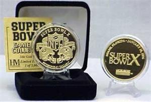 Highland Mint 24Kt Gold Super Bowl X Flip Coin