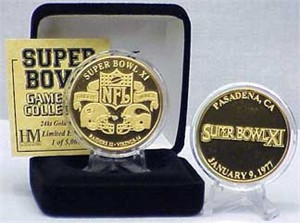 Highland Mint 24Kt Gold Super Bowl XI Flip Coin