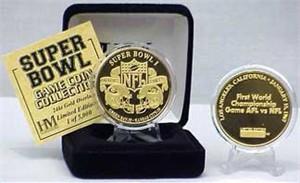 Highland Mint 24Kt Gold Super Bowl I Flip Coin