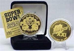 Highland Mint 24Kt Gold Super Bowl XXI Flip Coin