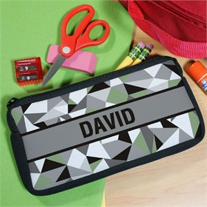 Jagged Squares Personalized Pencil Pouch