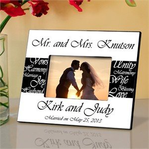 Personalized Mr. and Mrs. Wedding Frame - B&W