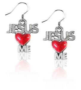 Jesus Loves Me Charm Earrings in Silver