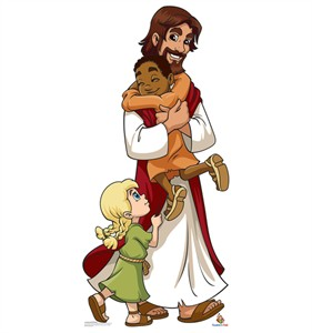 Jesus with Children Creative for Kids Cardboard Cutout