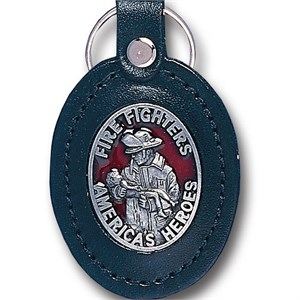 Leather Key Chain - Fire Fighters America's Heroes
