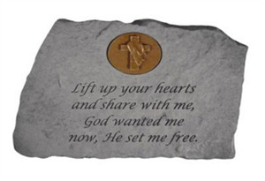 Lift up your hearts…w Cross Symbol Memorial Stone