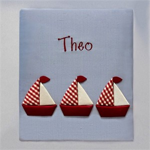 Red and White Sailboats Personalized Baby Photo Album - Large