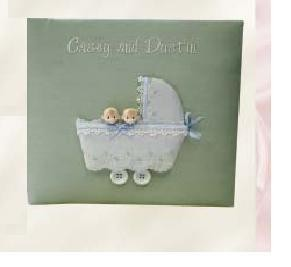 Twins in Buggy Personalized Baby Photo Album - Large