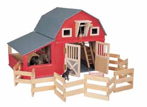 Maxim Red Gable Toy Barn with Corral and Stall