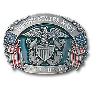 Military US Navy Retired Enameled Belt Buckle
