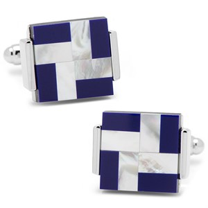 Mother of Pearl and Lapis Blue Windmill Square Cufflinks