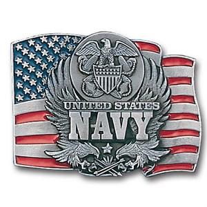 Navy Enameled Belt Buckle