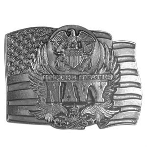 Navy Seal on Flag Antiqued Belt Buckle