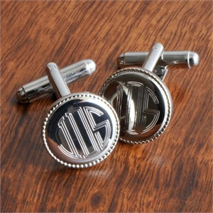 Personalized Mongrammed Cufflinks - Silver Plated