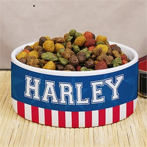 Personalized American Flag Dog Bowl