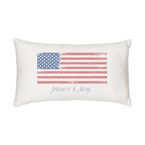 Personalized American Flag Lumbar Pillow